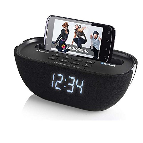 AudioSonic Bluetooth Radio-Wecker mit USB-Anschluss Uhrenradio Kopfhöreranschuss USB-Anschluss Dimmbar (Snooze-Taste, Aux-IN, PLL-Tuner, Uhrenradio)