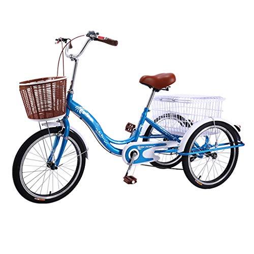 OFFA Triciclo Adulto Bicicleta para Mujer para Mujeres Mayores, Bicicletas De 20 Pulgadas De 3 Ruedas con Cesta De Compras De Carga, Tres Ruedas Crucero Bicicleta Asiento Y Manillar (Color : Blue)