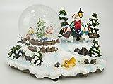CHRISTMAS CONCEPTS LTD 15.5cm Musical de Navidad Decoración Resina con la Navidad Bola de Nieve + Cambia Color Luces LED con Pilas