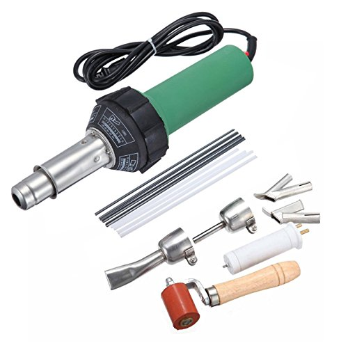 Iglobalbuy 110V 1500W Hot Air Torch Plastic Welding Gun Welder Pistol Hot Gas Welder with Nozzles and PE/PVC Rods (1500W)