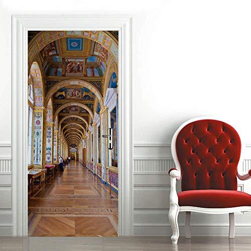 3D Etiqueta de Puerta Autoadhesiva 88X200CM,Extraíble de Bricolaje Pegatinas de Pared decoración de Hogar Arte Moderno Vinilos Puerta Pegatina- Corredor de San Petersburgo