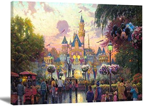 Hesuz Cartoon Canvas Art Ceaco Thomas Kinkade Canvas Wall Art The Princess and Disneyland 50th product image