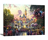 Hesuz Cartoon Canvas Art Ceaco Thomas Kinkade Canvas Wall Art The Princess and Disneyland 50th Anniversary Giclee Print Ready to Hang for Bedroom Children Story Illustration Artwork(No Frame)