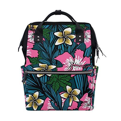 Bolsa de pañales de gran capacidad, mochila para el cuidado del bebé, con diseño de flores polinesias, multifunción, resistente al agua, mochila de viaje elegante para mamá y papá