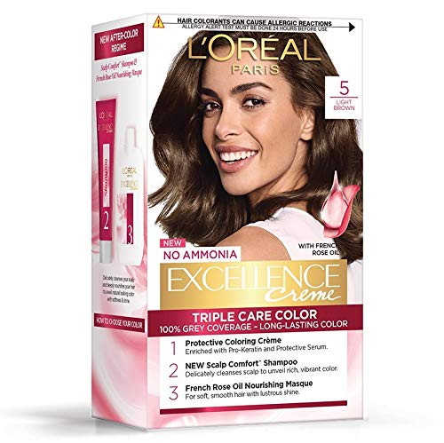 L'Oreal Paris Excellence Creme Hair Color, 5 Light Brown/Natural Brown, 72ml+100g