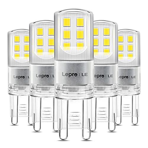 Lepro 2.6W G9 LED Lampe 320 Lumen, Kein Flackern, 6000k kaltweiß G9 LED Leuchtmittel Ersatz 30W G9 Halogenlampe, 300° Abstrahlwinkel, nicht dimmbar 5er Pack