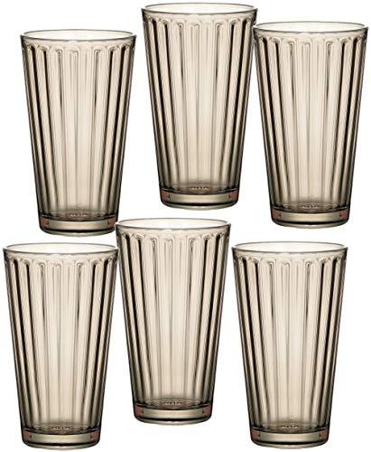 Ritzenhoff & Breker Longdrinkgläser-Set Lawe Stripes, 6-teilig, je 400 ml, Rauchgrau, Glas