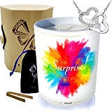 Vela grande joya • Collar decorado con cristal de Swarovski® • Perfume Barba de PAPA • Caja de regalo de madera y bambú explosión de color