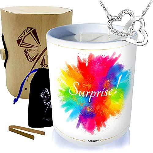 Grande candela gioiello • Collana ornata con cristalli Swarovski • Profumo Barba a PAPA • Cofanetto regalo legno & bambù esplosione di colore