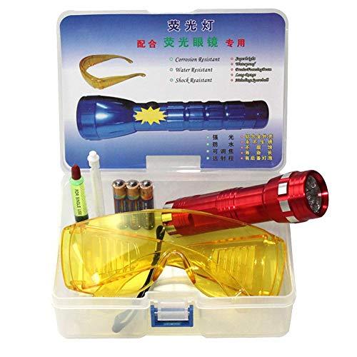 Reuvv 1 Satz Auto Auslauf Finder Klimaanlage ein / C System Auslauf Test Set LED Taschenlampe UV Taschenlampe Schutz Brille UV Farbe Werkzeug Set, Auto Klimaanlage Reparatur Werkzeug