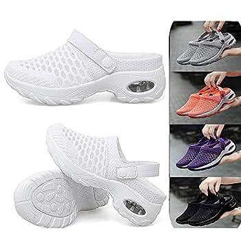 JDSD Women s Breathable Casual Air Cushion Slip-on Shoes Summer Lightweight Platform Mesh Slippers Orthopedic Walking Sandals Mesh Slip On Air Cushion Garden Shoes  White 10