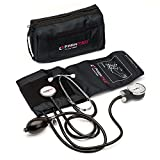PARAMED Aneroid Sphygmomanometer with Stethoscope – Manual Blood Pressure Cuff with Universal Cuff 8.7-16.5' and D-Ring – Carrying Case in The kit – Black