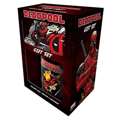 Deadpool Mug ,Untersetzer und Schlüsselanhänger Geschenkset ,11oz/315ml