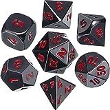 Juego de Dados 7-Die Poliédricos de Aleación de zinc Metal para Calabozos y Dragones RPG Dice Gaming Enseñanza de Matemáticas D&D, d20, d12, 2 Piezas d10 (00-90 y 0-9), d8, d6 y d4 (Negro y Rojo)