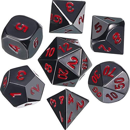Frienda Zinklegierung Metall Polyedrische 7-Die Würfel Set für Dungeons and Dragons RPG Würfel Gaming D&D Mathematik Lehre, d20, d12, 2 Stück d10 (00-90 und 0-9), d8, d6 und d4 (Schwarz und Rot)