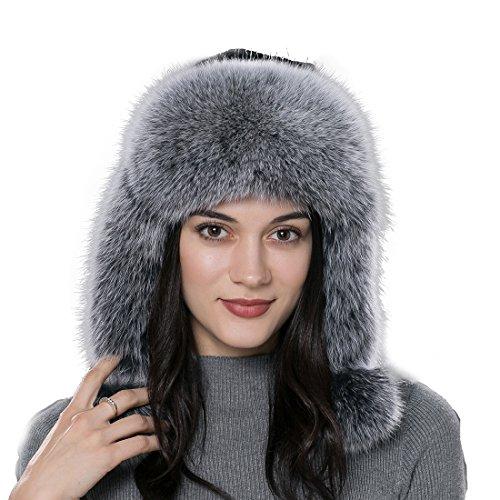 URSFUR Frauen Flaumige Echte Rex Kaninchen Fell und Fuchspelz Fellmütze Trappermütze mit Ohrenklappe Fliegermütze -grau