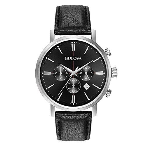 Bulova orologio uomo crono cassa acciaio cinturino pelle nero 41mm 96b262
