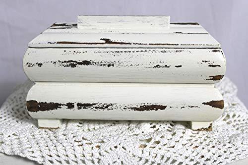 Shabby Schmuckschatulle kleine alte Holz Schatulle/Dose mit Deckel creme weiß 60er Jahre Shabby Chic Landhaus Vintage Möbel