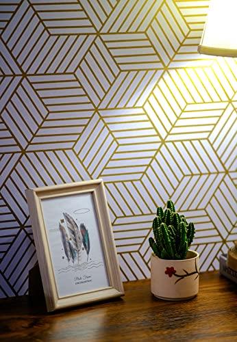 Weiß und Geometrische Streifen des Golden Sechsecks Tapete Selbstklebende Gold Streifen...
