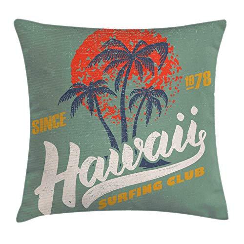 tyui7 Hawaii Decorative Cushion Cover Surfing Water Sports Palm Tree Orange Sun Decorative Square Accent Cushion Cover 45 x 45 cm Pale Reseda Green Vermilion Earth Yellow Dark Lavender