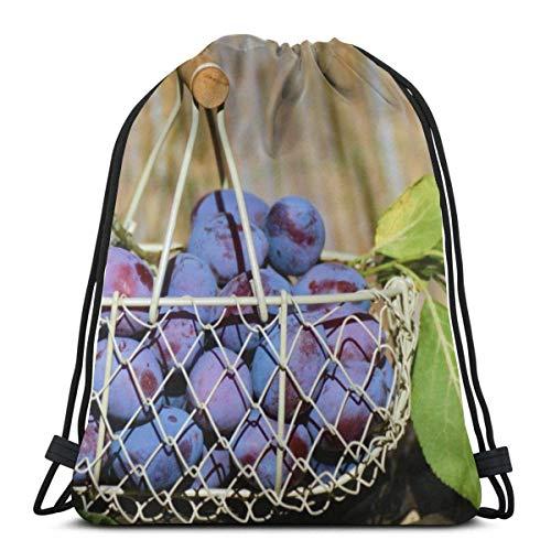 NA paarse druif fruit in wit staal mand gepersonaliseerd klassieke draagbare trekkoord rugzak, 14.2