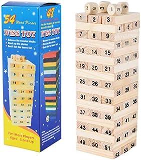1 مجموعة لعبة بناء برج خشبي رقمي للاطفال، لعبة من 54 قطعة دومينو و4 قطع زهر، التجميع عبر الالعاب التعليمية