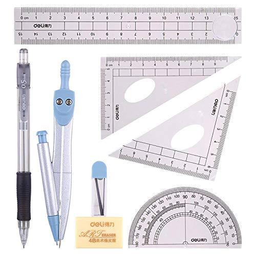 8 stuks wiskunde set - geometrie kompas sets examen briefpapier potlood case - wiskunde kit educatieve benodigdheden tekening kompas en trekker set