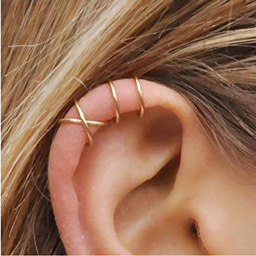 Sither 5 Piece Women Cute Ear Cuff Cross Ear Cuff for Non-pierced for Girls Ear Clip Earrings Minimalist Earrings Cartilage Ear Cuff Simple Fashion Unique Jewelry Gift for Her (gold)