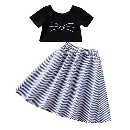 Janly Clearance Sale Conjunto de ropa para niñas de 0 a 6 años, para bebés y niñas y gatos, camiseta, vestido a rayas, bonito regalo de Pascua, juego de ropa para bebés de 3 a 4 años (negro)