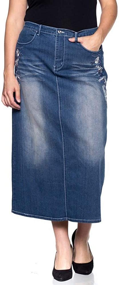 Women's Plus Size Mid Rise A-Line Long Jeans Maxi Denim Embroidered Skirt