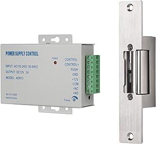 Cerradura de Golpe eléctrico, TMEZON Cerradura de Puerta eléctrica de Tipo Estrecho con Control de Fuente de alimentación,...