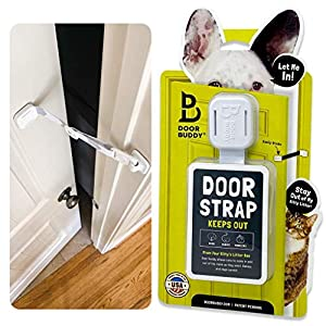 Door Buddy Adjustable Door Strap and Latch – Grey. Dog Proof Litter Box The Easy Way. No Need for Pet Gates or Interior Cat Door. Use This to Keep Dog Out of Litter Box and Cat Feeder.