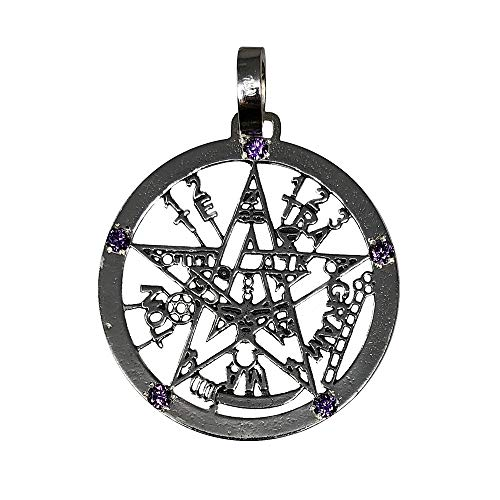 Colgante Plata Ley 925M Tetragramatón 37mm. Amuleto Piedras Moradas Protección Esotérico