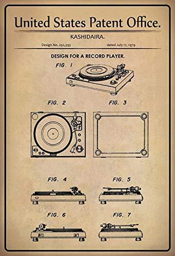 NWFS patent ontwerp voor een platenspeler 2 metalen bord bord metalen bord metaal tin teken gebogen gelakt 20 x 30 cm