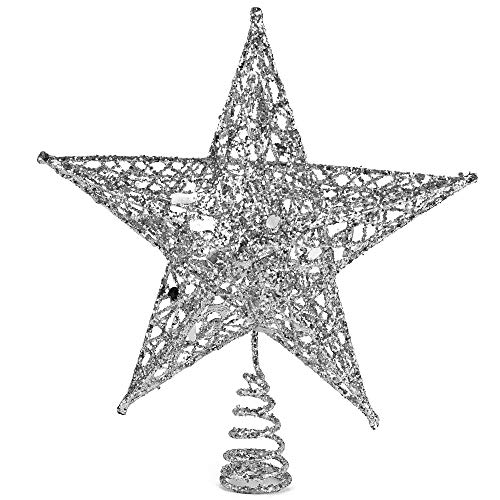 Ornativity Silver Star Tree Topper - Christmas Glitter Star Ornament Treetop Decoration