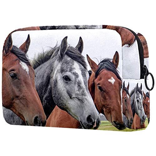 Bolsa de cosméticos de viaje de doble capa bolsa de cosméticos bolsa de almacenamiento cosmética,Tres caballos cabeza animales