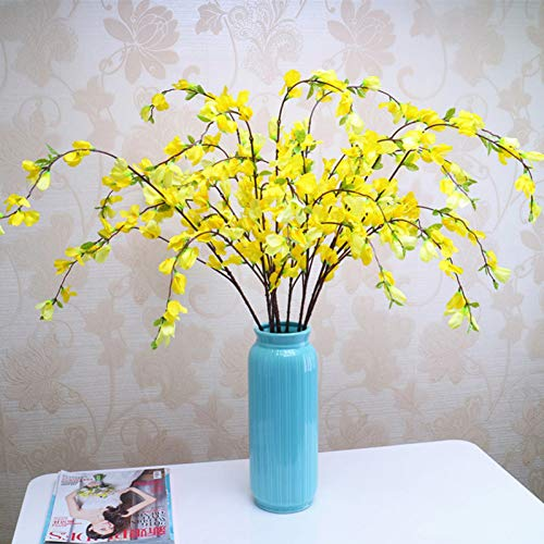 HYLZW Kunstmatige Bloem Plant 9 Vorken Thuis Decoratieve Levendige Winter Jasmijn Kunstbloemen Voor Bruiloft Party Decor Nep Bloemen Binnen Kunstplanten