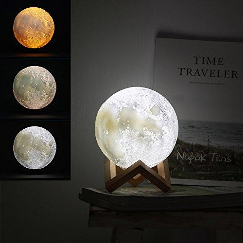 Jiusion 15cm Luna Lámpara Impresión 3D Luz de Noche con