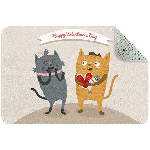 Bennigiry Feliz día de San Valentín gato amante de la pareja alfombra alfombra alfombra para sala de estar, dormitorio, sala de juegos, 35 x 24 pulgadas