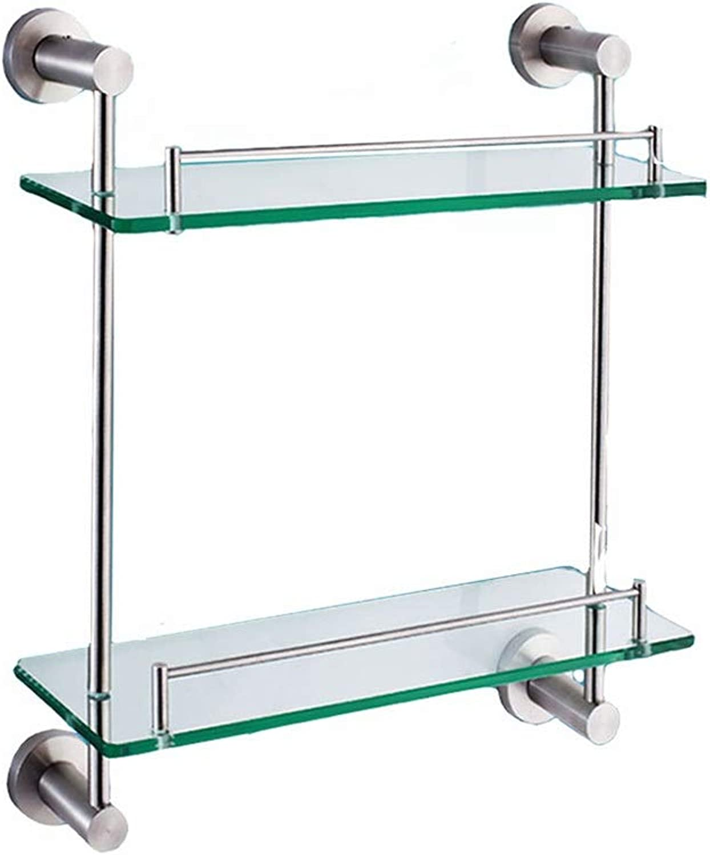 XSJJ Bathroom Shelf, 304 Stainless Steel Perforated Bathroom Glass Shelf for Bathroom Double-Layer Pendant Rack Wall Mount Bathroom Glass Shelf