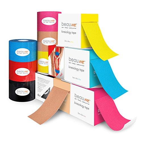 BEAUME® Kinesiologie Tape, 5cm x 5m, mit wellenförmiger Acrylkleber-Beschichtung, wasserfest, reißfest, atmungsaktiv, gut dehnbar, Farbe:1 x Beige