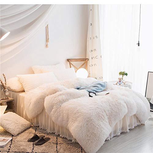 LDDPP Juego de ropa de cama Shaggy de 4 piezas, de forro polar grueso y cálido, para otoño e invierno, suave y esponjoso, con forro polar de cristal