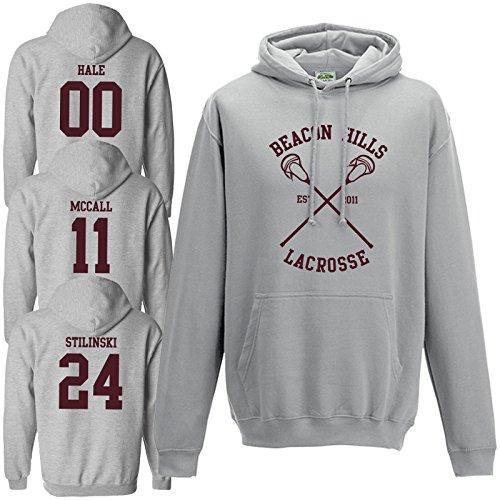 Beacon Hills Lacrosse Hoodie Grau Teen Wolf McCall Stilinski Lahey Unisex Sweatshirt Gr. M, Stilinski 24