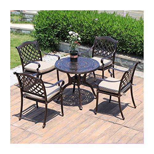 Juegos de muebles de jardín Las mesas y sillas de hierro, Traje al aire libre Juegos de mesa moldeada Juego de mesa de aluminio al aire libre for todos los climas Mesa y sillas for el balcón, junto a