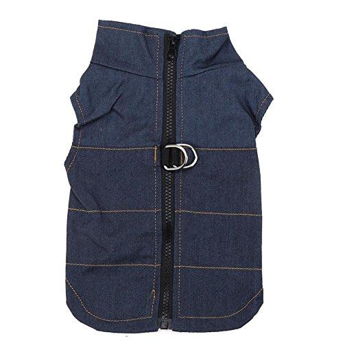 Domybest Huisdier Honden kleding Lente Denim Vest Kleding Rits Jacket(Lichtblauw/M)