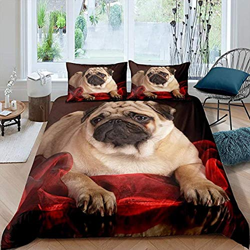 HUA JIE Navy Bedding Sets Puppy Bedding Set, Kids Funny Dog Print Comforter Cover, Lovely Pug Pet Duvet Cover For Children Boys Girls Teens Adult, 3D Cute Pet Quilt Cover