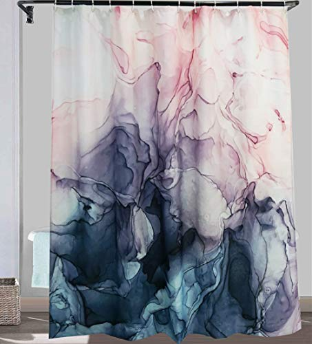 YoKii Abstract Fabric Shower Curtain, 72-Inch Pastel Blush and Blue Ombre Ink Art Painting Kids Bathroom Shower Curtain Sets, Heavy Weighted Bath Curtains Bathroom Art Decor (72 x 72, Blush)