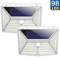 Luz Solar Exterior, QTshine Foco Solar con Sensor de Movimiento y 270º Iluminacion de Multifuncional, Lámpara Solar Impermeable con 3 Modos para Jardín, Garaje, Entrada [2 Piezas]