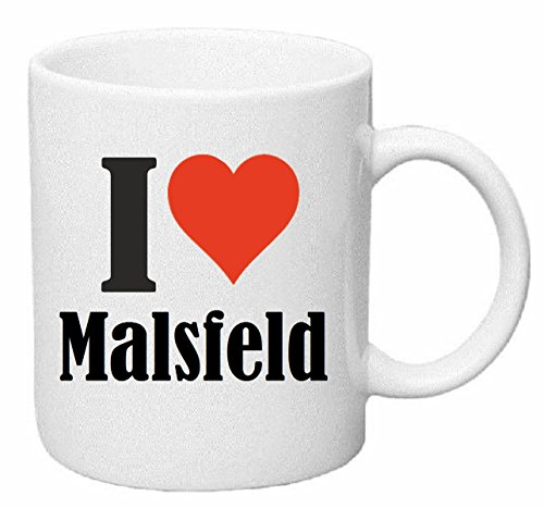 Reifen-Markt Kaffeetasse I Love Malsfeld Keramik Höhe 9,5cm ⌀ 8cm in Weiß