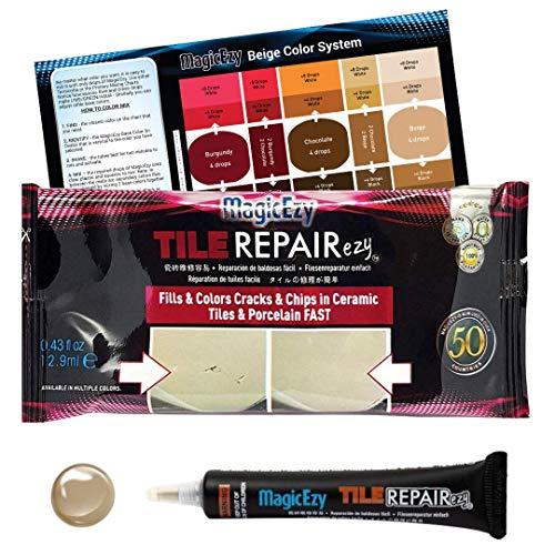 MagicEzy Tile Repairezy (Beige) -Fix Chipped Tiles Fast - Thick Ceramic Repair Filler Ideal for Holes, Gouges, Porcelain, Acrylic, Vinyl